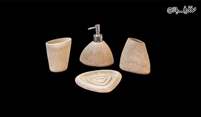 ست سرویس بهداشتی ۴ پارچه سفید طرح سنگ با ۳۱% تخفیف |