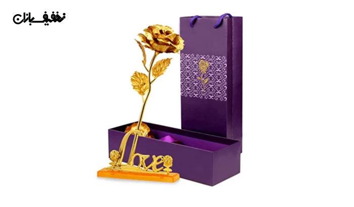 پکیج شاخه گل رز طلا سایز بزرگ به همراه پایه Love با ۳۴% تخفیف و |