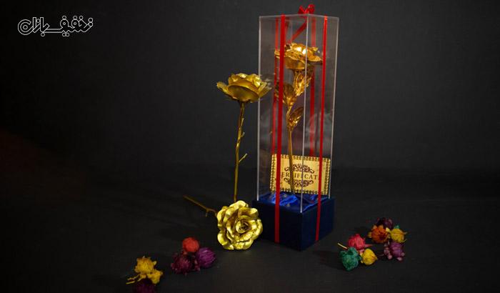 شاخه گل رز طلا کادویی با قاب پلکس