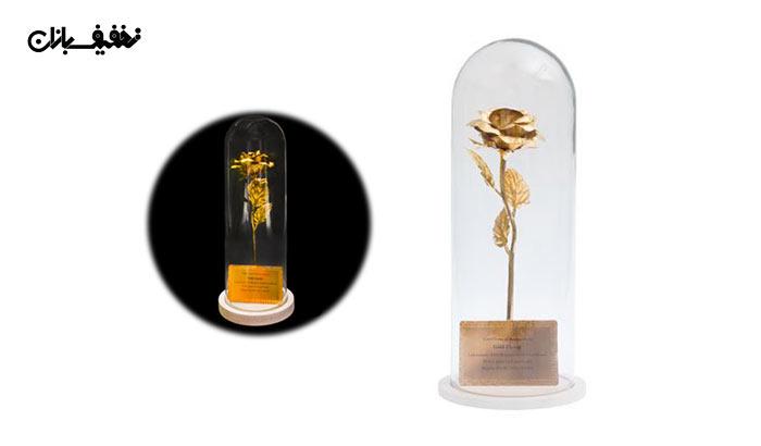 شاخه گل رز طلا کادویی با قاب پیرکس