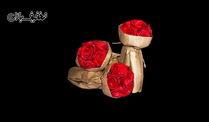 دسته گل رز ساخته شده با کاغذ کشی و کاغذ گراف