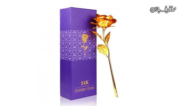 پکیج شاخه گل رز طلا سایز بزرگ به همراه پایه
